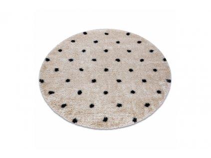 Kulatý shaggy koberec FLUFFY 2370 Tečkovaný krémový antracitový