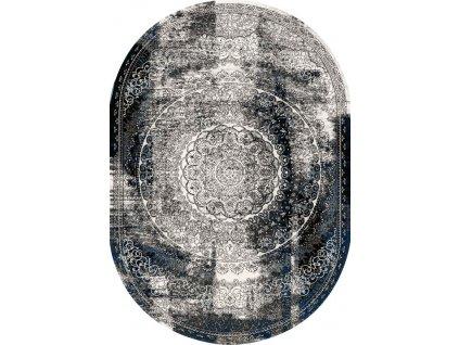 Oválný koberec vlněný Agnella Agnus Currus Černý Šedý