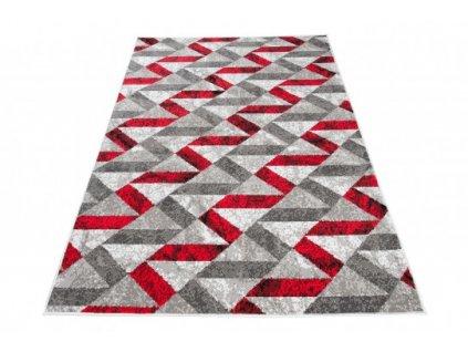 Kusový koberec moderní MAYA Q544A WHITE červený šedý bílý