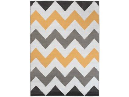 Kusový koberec moderní MAYA Z903A žlutý šedý bílý
