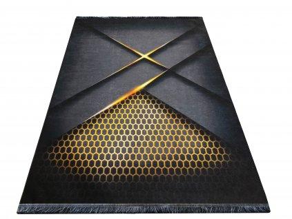 Moderní kusový koberec protiskluzový Horeca 25 černý / zlatý