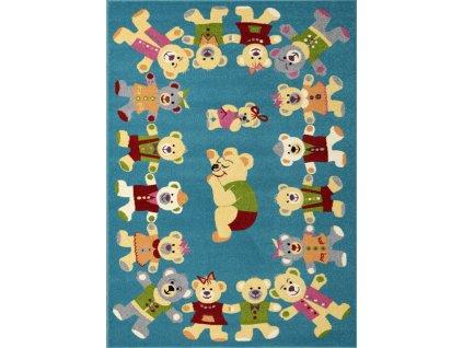 Dětský kusový koberec Agnella Funky Rob Tyrkysový
