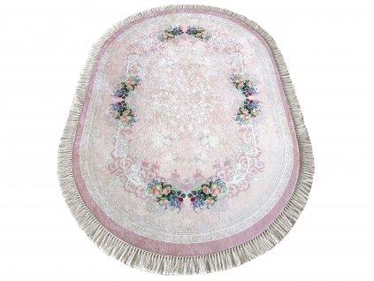 Oválný kusový koberec protiskluzový Horeca 05 Květy růžový