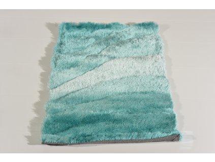 Kusový koberec Shaggy TODA 3D Světle tyrkysový Tmavě tyrkysový
