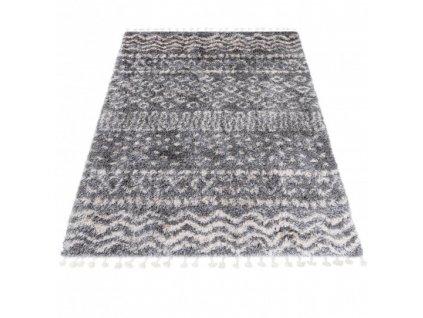 Kusový koberec Shaggy AZTEC FA60A Tmavě Šedý