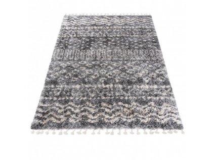 Kusový koberec Shaggy AZTEC FA60B Tmavě Šedý