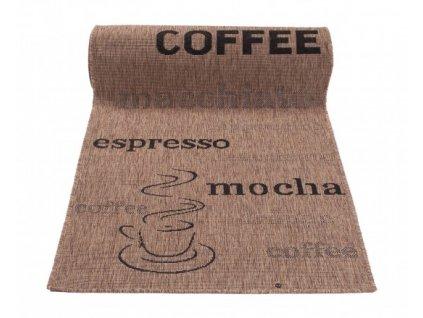 Běhoun Sisal Floorlux 20220 Popisy Káva Coffee / Black