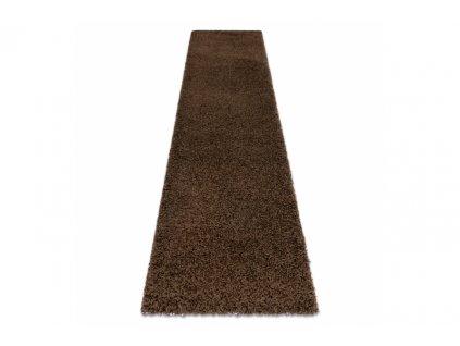 Koberec Běhoun jednobarevný SOFFI shaggy 5cm hnědý