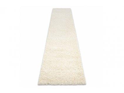 Koberec Běhoun jednobarevný SOFFI shaggy 5cm krémový