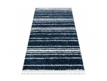 Kusový koberec Shaggy UNION 4080 Proužky modrý krémový