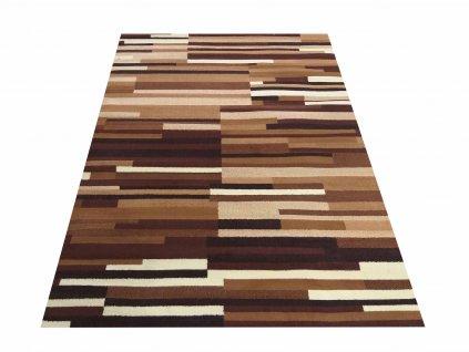 Kusový koberec BCF Alfa 02 Proužky hnědý