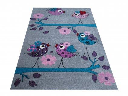 Dětský kusový koberec Bella 02 Ptáčci šedý