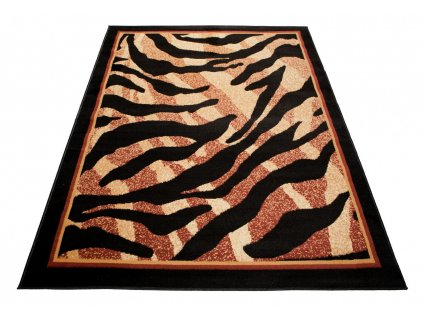 Kusový koberec ATLAS 6601A Hnědý / černý