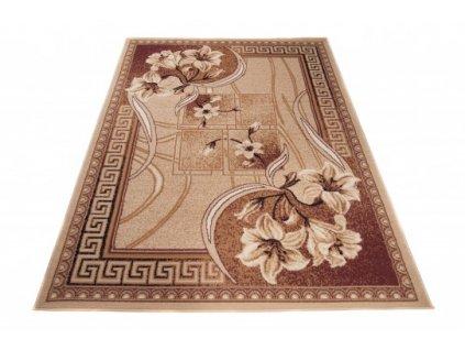 Kusový koberec ATLAS F743A Květy tmavě béžový