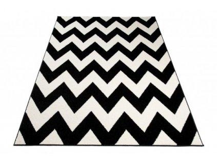 Moderní kusový koberec MAROKO L891A Cik Cak černý / bílý