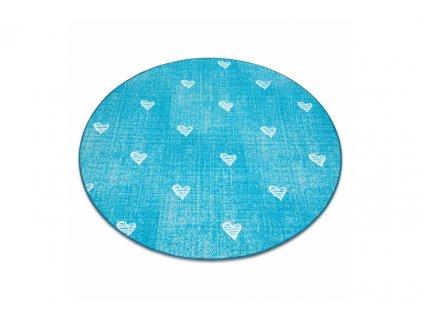 Dětský kulatý koberec HEARTS Srdíčka Modrý