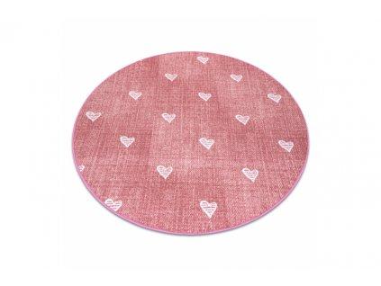 Dětský kulatý koberec HEARTS Srdíčka Růžový