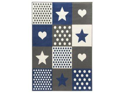 Dětský kusový koberec KIDS 533914/54912 šedý-modrý
