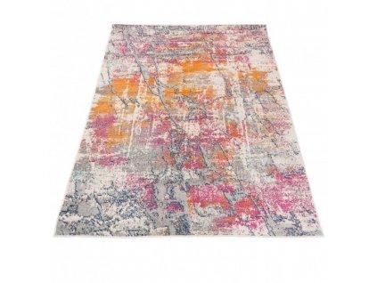 Moderní kusový koberec A024A DENVER Abstraktní šedý / oranžový