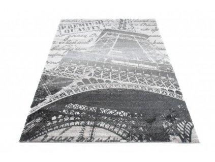 Kusový koberec LUX VERSO 1004A G26 Eiffelova věž šedý