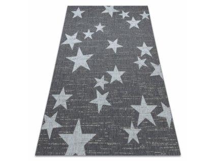Kusový koberec Sisal  FLAT 48699392 Hvězdy šedý / bílý