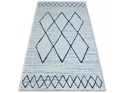 Kusový koberec Sisal COLOR 47272/396 bílý geometrický vzor