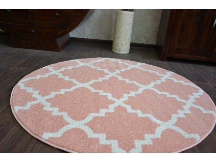 Kulatý koberec SKETCH - F343 růžový / krémový