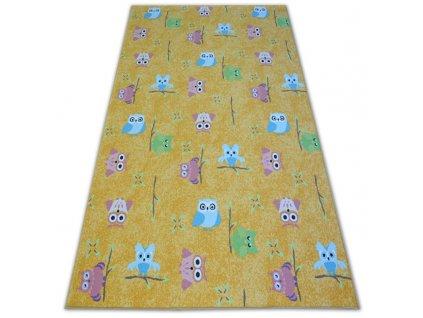 Kusový dětský koberec OWLS Sovy žlutý
