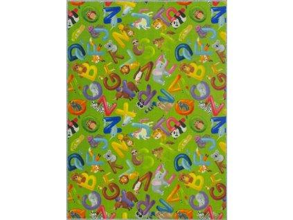 Dětský kusový koberec Alfabet 12 zelený