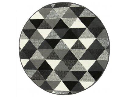 Kulatý koberec LUNA 503430/56911 šedý trojúhelníky