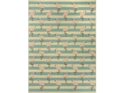 Kusový koberec LUNA 533745/85833 béžový s plameňáky