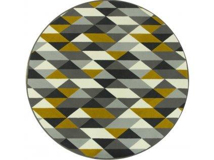 Kulatý koberec LUNA 503652/89915 trojúhelníky žluté