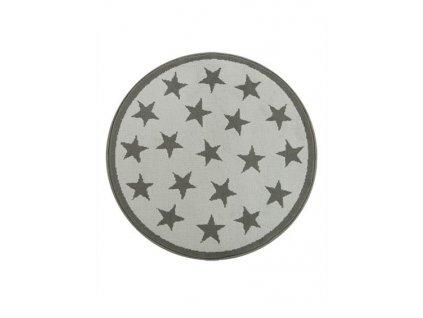 Kulatý koberec LUNA 533909/89911 hvězdy světle šedý