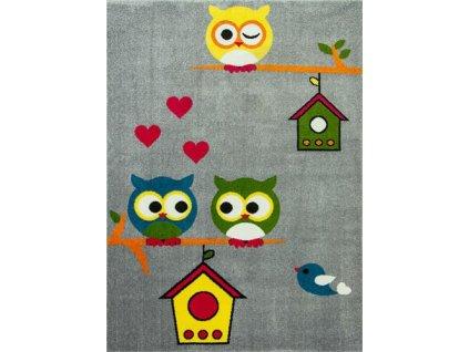 Dětský koberec Rainbow 11205/190 sovy šedý