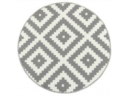 Kulatý koberec Romby 19 šedý pogumovaný