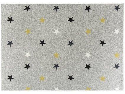 Kusový koberec Stars Mix Hvězdy světle šedý