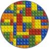 Kulatý dětský koberec Kostky Lego