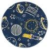 Kulatý dětský koberec EMILY KIDS 2359A rakety modrý