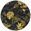 Kulatý koberec Monstera listy palmy černý / zlatý