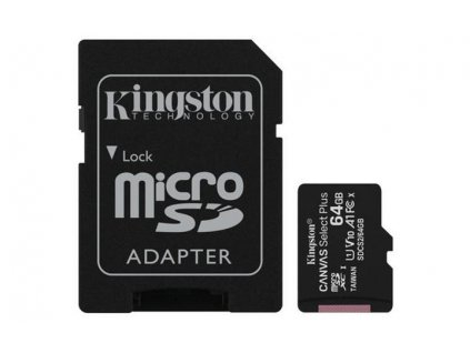 Paměťová karta Kingston Micro 64GB Class 10 UHS-I s adaptérem SD2