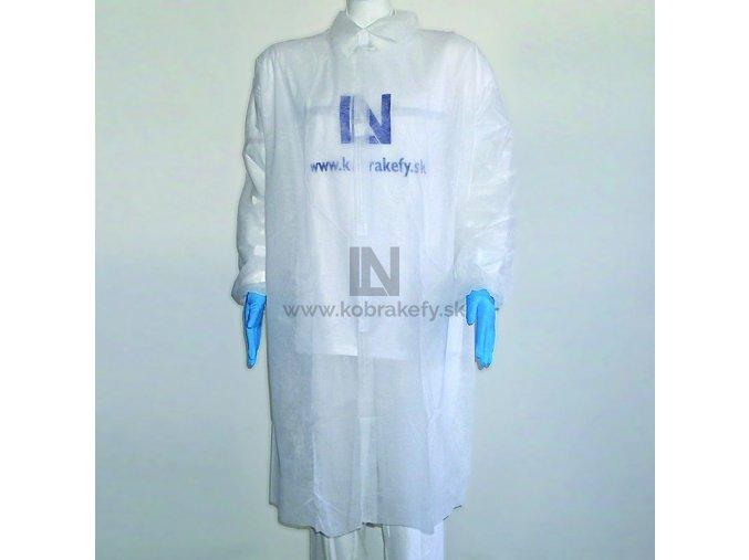 826-CVOK-1 PP - Plášť návštevný s plastovými cvokmi - biely