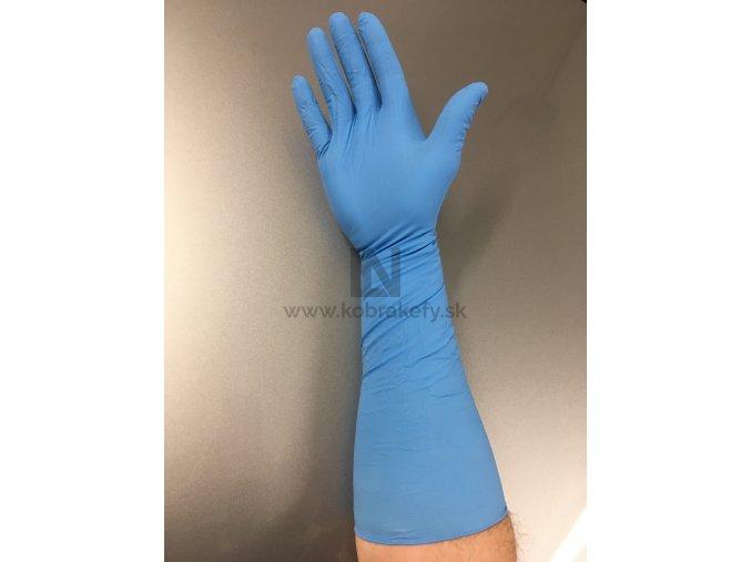 881 Nitrilové rukavice dĺžka 40 cm modré