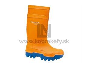 914-7 Gumená čižma Dunlop Purofort - Termo+ s oceľovou špicou oranžová