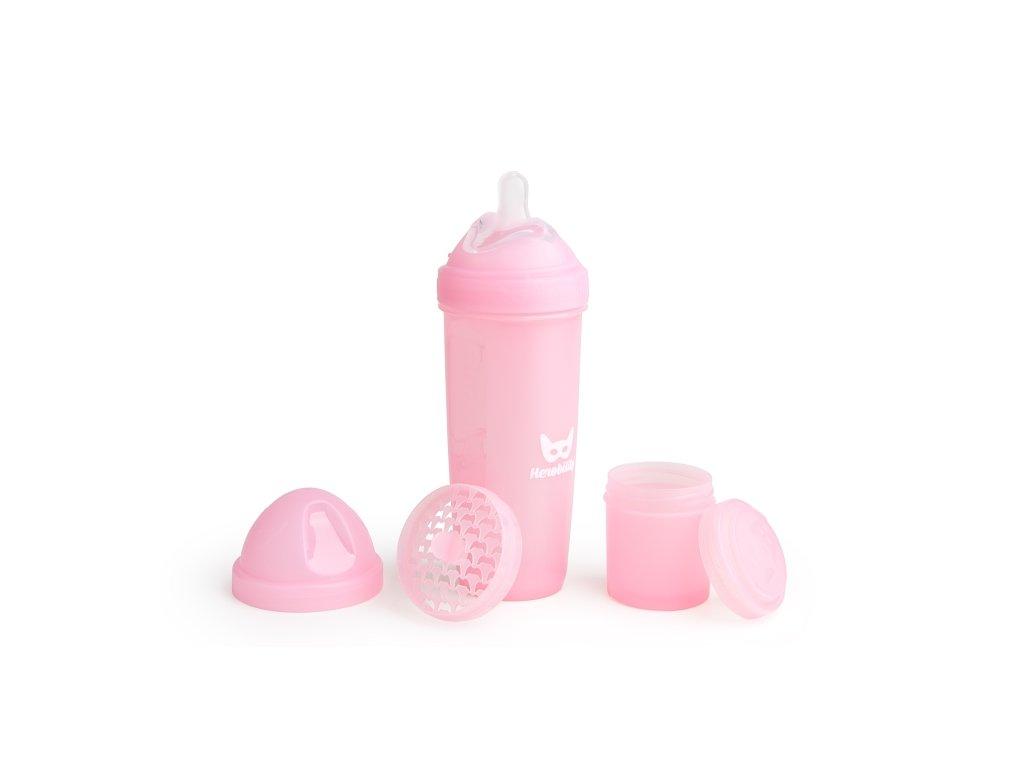 Herobility kojenecká láhev HeroBottle 340ml růžová