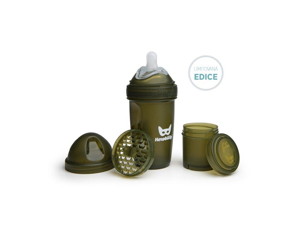 Herobility kojenecká láhev HeroBottle 240ml ArmyGreen limited