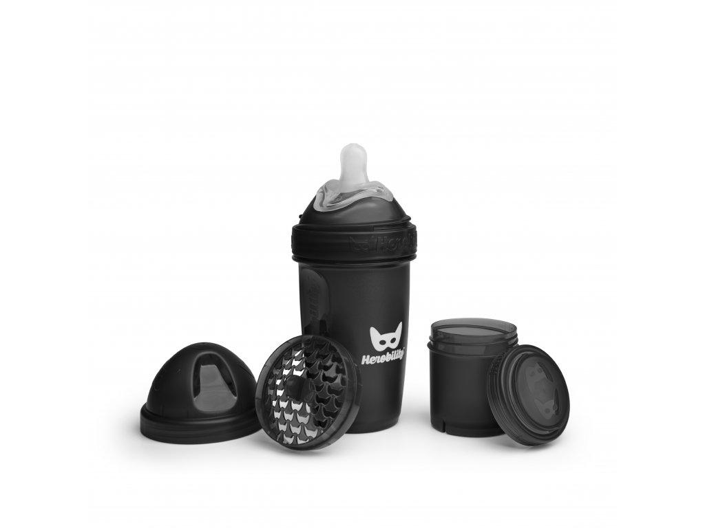 Herobility kojenecká láhev HeroBottle 240ml černá (2)