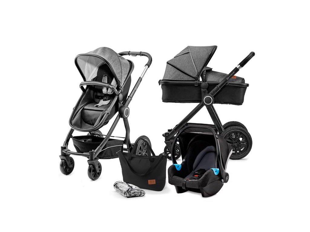 Kočárek kombinovaný Veo black/grey 3v1 Kinderkraft