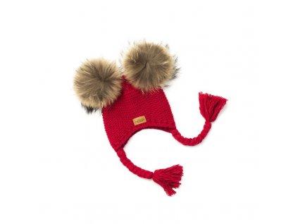 17379 3 detska zimni cepice cervena umela kozesina