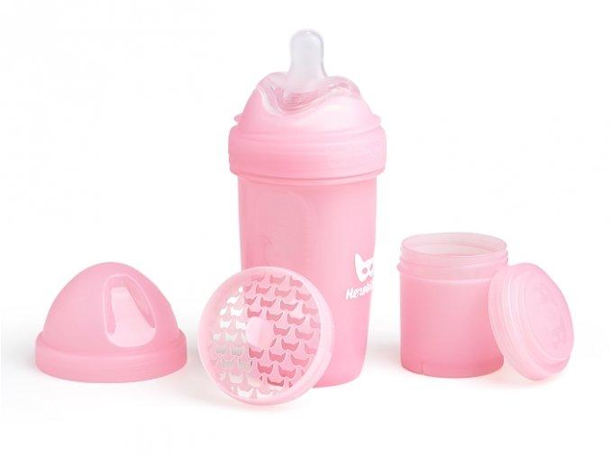 Herobility kojenecká láhev HeroBottle 240ml růžová 2