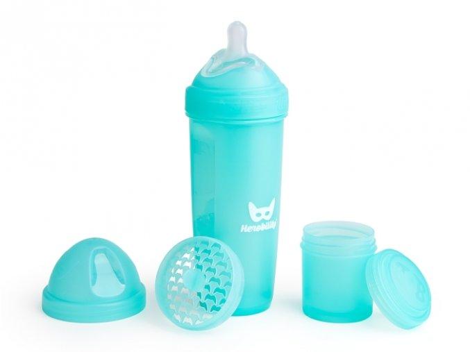 Herobility kojenecká láhev HeroBottle 340ml modrá